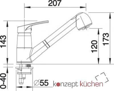 blanco wega s k chenarmatur 512035 chrom schlauchbrause hochdruck online shop armaturen chrom. Black Bedroom Furniture Sets. Home Design Ideas