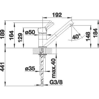 blanco antas s k chenarmatur 516764 chrom niederdruck online shop armaturen chrom mit brause. Black Bedroom Furniture Sets. Home Design Ideas