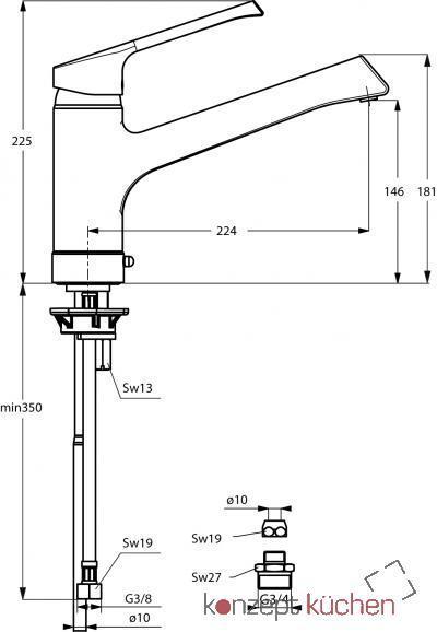 IDEAL STANDARD Küchenarmatur Retta HD Chrom Schwenkauslauf, B 8984 ...