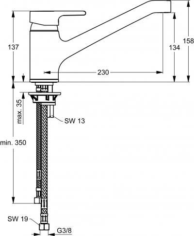 IDEAL STANDARD Küchenarmatur Active Niederdruck Chrom B 8080 AA ...
