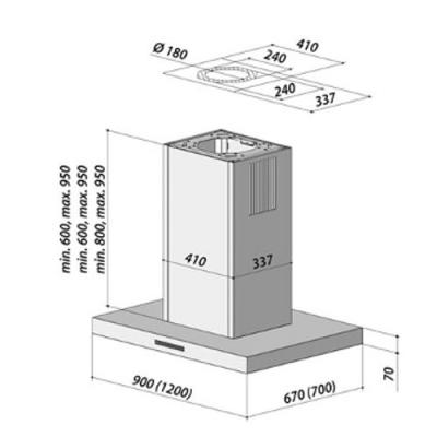 berbel bih 90 bl 2 blockline inselhaube schwarz eek a. Black Bedroom Furniture Sets. Home Design Ideas