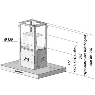 berbel bih 90 bl 2 inselhaube blockline edelstahl eek a. Black Bedroom Furniture Sets. Home Design Ideas