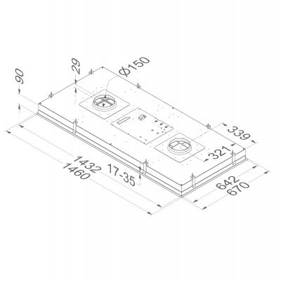 novy maxi pureline 855 deckenhaube edelstahl 150 cm f r externen motor online shop dunstabzug. Black Bedroom Furniture Sets. Home Design Ideas