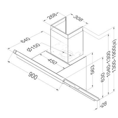 novy headline 7805 kopffrei wandhaube edelstahl 90 cm f r externen motor online shop dunstabzug. Black Bedroom Furniture Sets. Home Design Ideas