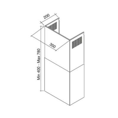 falmec schacht wand extra breit fa online shop dunstabzug zubeh r kaminschacht. Black Bedroom Furniture Sets. Home Design Ideas