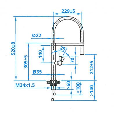 caressi ca112i edelstahl armatur einhebel mischbatterie hochdruck online shop armaturen edelstahl. Black Bedroom Furniture Sets. Home Design Ideas