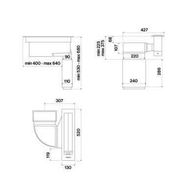 falmec piano einzelabsaugung tischhaube edelstahl eek b. Black Bedroom Furniture Sets. Home Design Ideas