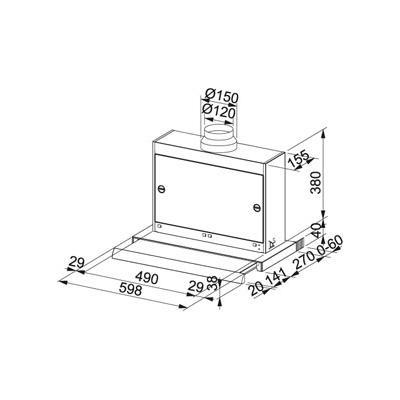 franke omnia ftc 622 xs flachschirmhaube 60 cm edelstahl. Black Bedroom Furniture Sets. Home Design Ideas