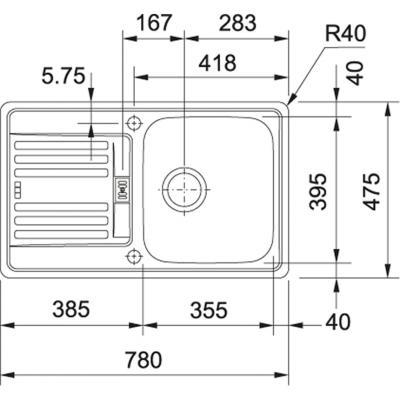franke euroform efx 214 78 edelstahl sp le online shop sp len edelstahl 45. Black Bedroom Furniture Sets. Home Design Ideas