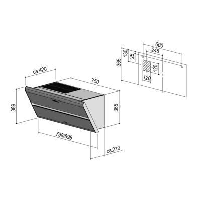 berbel smartline bkh 80 st u kopffreihaube 80 cm schwarz incl aktivkohlefilter online shop. Black Bedroom Furniture Sets. Home Design Ideas