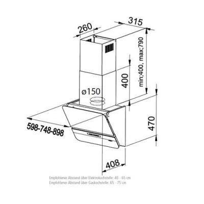 Dunstabzugshaube Kopffrei 90 Cm Schwarz 2021
